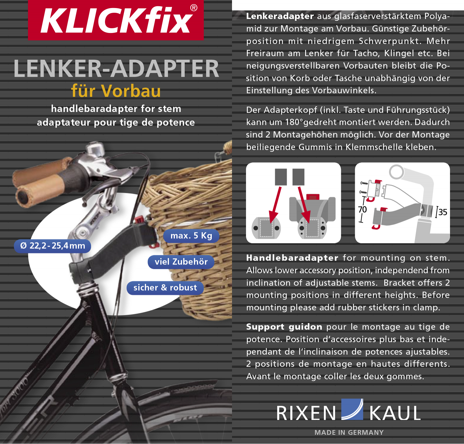Rixen Kaul Klickfix Handlebar Adapter for Stem KR301