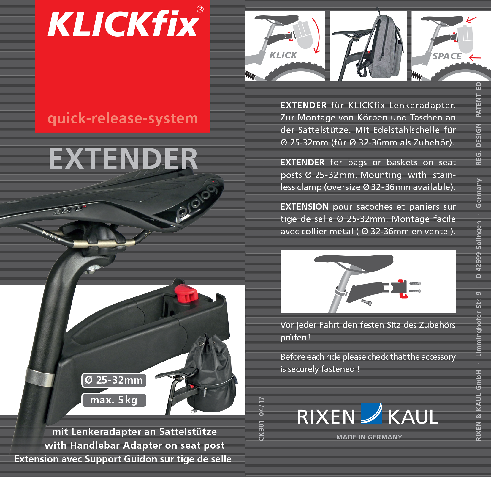 Seatpost d:25-32mm 0217.. Rixen /& Kaul KLICKfix Saddle Base Adapter Complete F